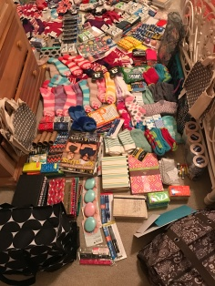 My workstation (aka guest bedroom) filling up with donated items