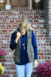 Olive Faux Fur Vest $39 Photo from Hadley Rae Boutique